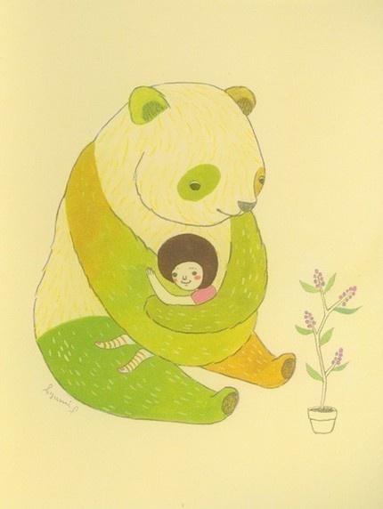 Ayumi Piland, Arty Farty, Bears Hug, Pandas Hug, Illustration Art, Bear Hugs, Pandas Art, Covers Art, Paper Planes