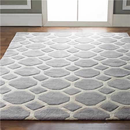 Honeycomb Carved Soft Rug in gray and ivory. 8x10. Tufted poly - great stain resistance. $520 + ship