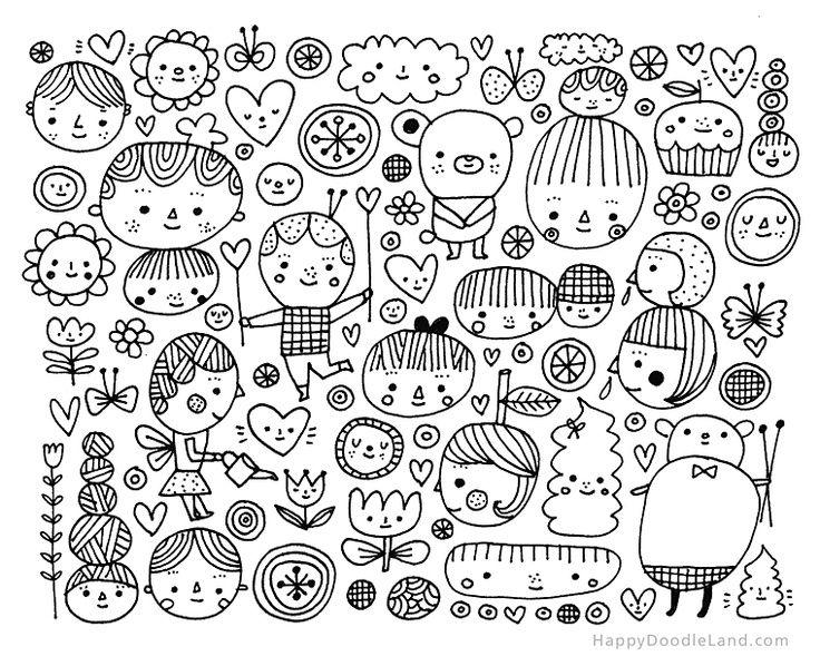 954 best dibujos variados images on pinterest mosaics for Doodle art faces