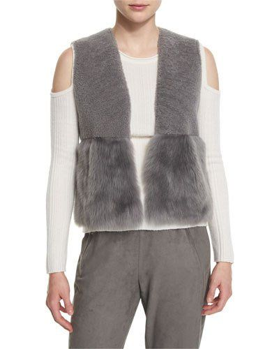 Elie+Tahari+Carly+Cropped+Shearling+Vest+Granite+|+Clothing