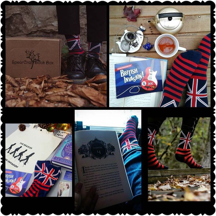 Hey Guys!!! Today is the last day to enter our #Spearcraftbookboxphotocontest   Today is also the last day to subscribe to the November box!!! . . Here's a peek at some of the Sock Sunday entries showing off those Union Jack socks that we included in our British Invasion box. . . QOTD:  What socks would you like to see in the future??? How do you feel about fingerless gloves hats and scarves???? Comment below and let us know. We are always looking  to try new things. . . . . . . #bibliophile…