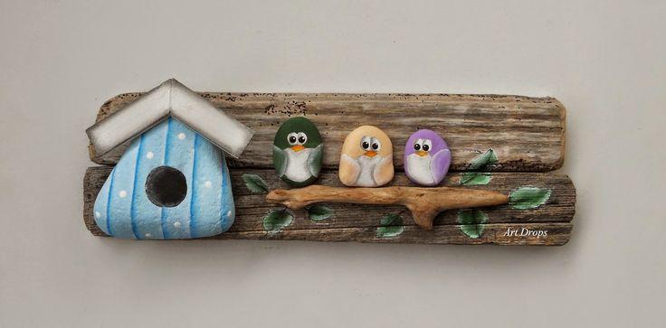 Art Drops: Oslikani predmeti - DRVO...Check out the cute rock birdhouse!