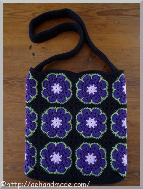 Virka en väska av African flower-rutor.