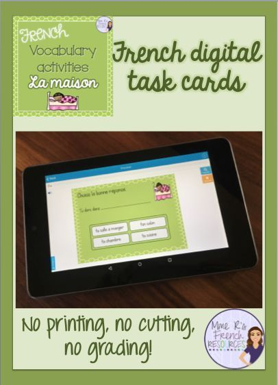 Digital task cards from Mme R's French Resources at Boom Learning - 20 multiple choice and short answer cards to help your students identify and write common house and furnishings vocabulary. Click here to see more!