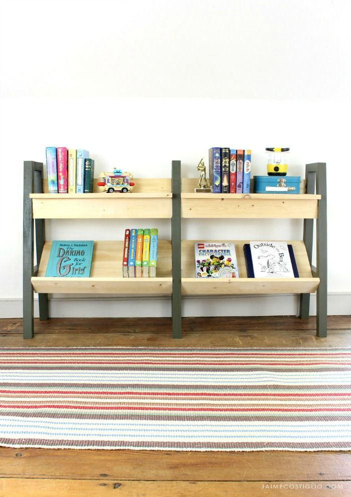 Build this midcentury inspired modern bookshelf with free plans for all your books. Perfectly sized for kids and even more perfect under the eaves.