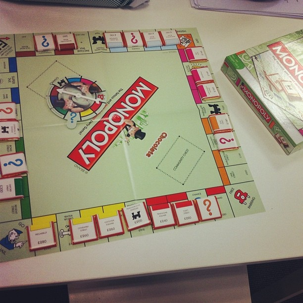Chocolate monopoly in the office. Yeah!
