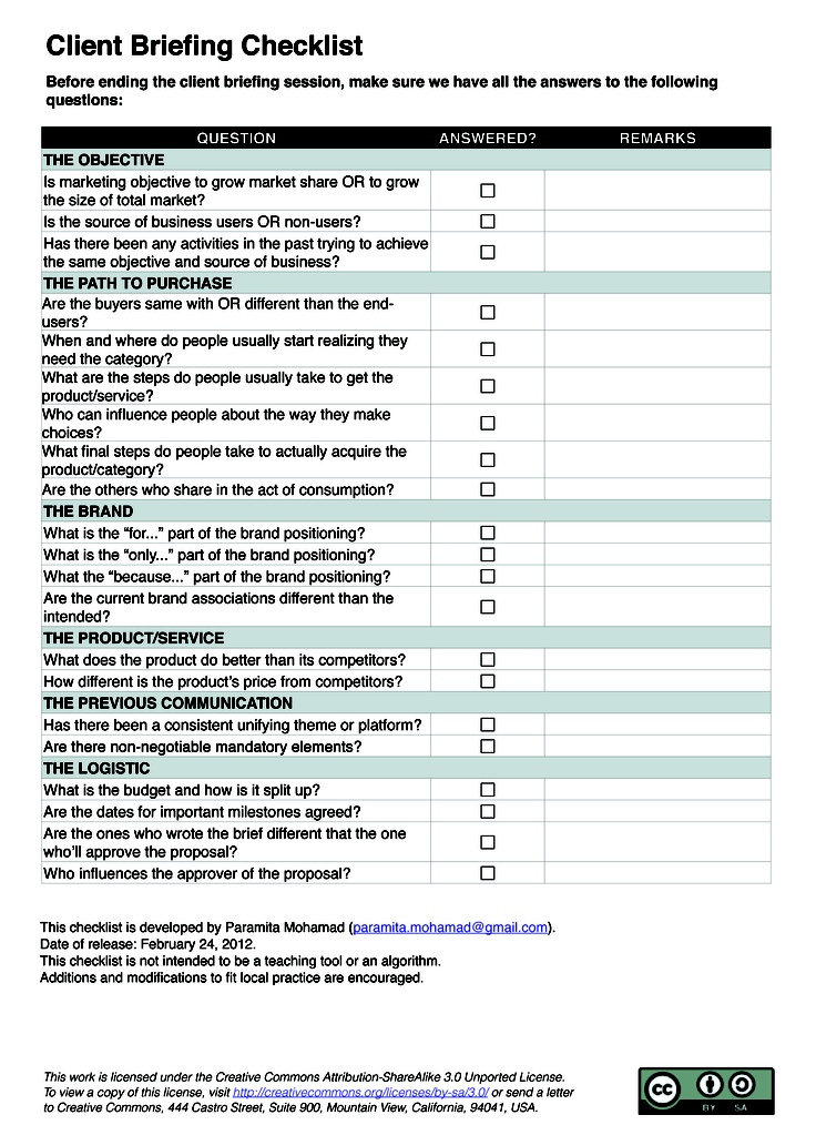 Client Briefing Checklist for Planners On creative