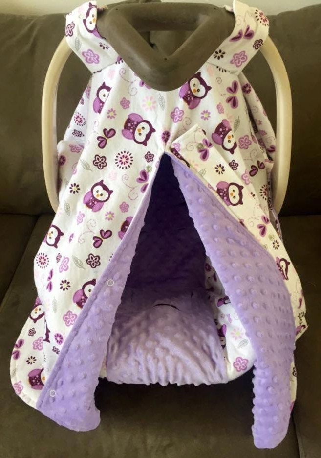 Owl Car Seat Cover/Car Seat Canopy/Car Seat Slipcovers/Purple Owl/Baby Cover/Car Seat Tent by SewSweetBabyDesigns on Etsy
