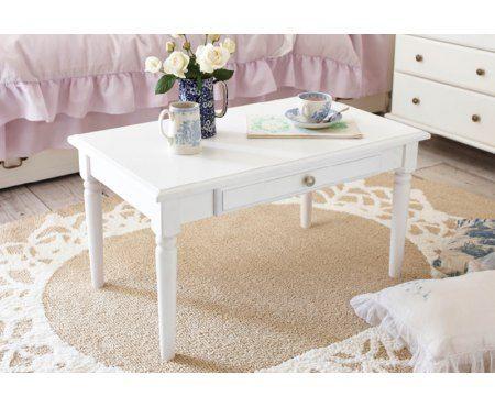 Biały stolik kawowy z szufladą