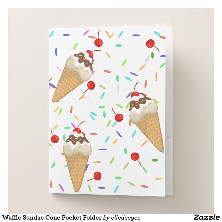 Waffle Sundae Cone Pocket Folder