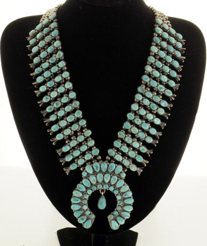 Necklace | Unknown Zuni Artist.  Silver and turquoise.