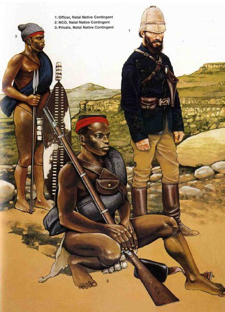 British; Natal Native Contingent 1879 L to R Native ranker, Native NCO and European Officer.