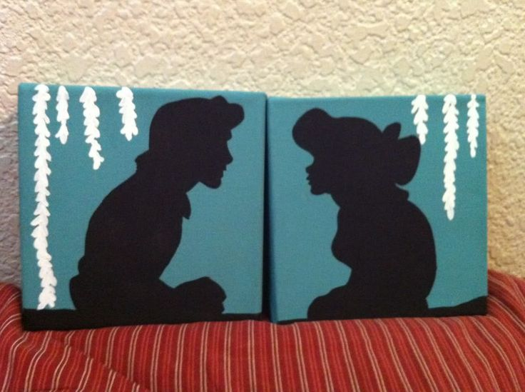 DIY Disney silhouette paintings, but if you could get the silhouette on to fabric, it would make the cutest throw pillows