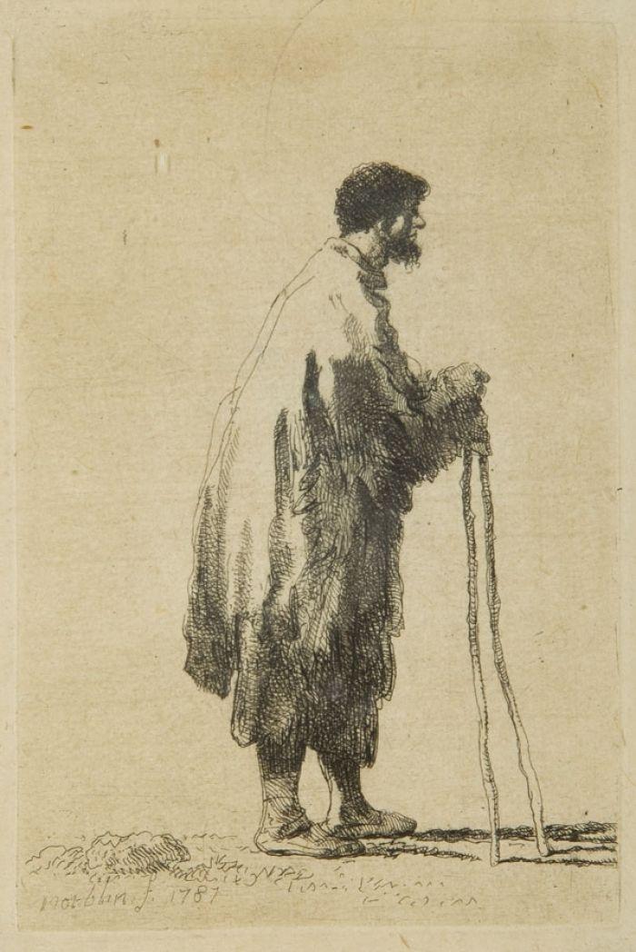 Jan Piotr Norblin de la Gourdaine - Żebrak o dwóch kijach, 1781 r.