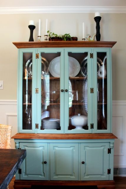 Paint the hutch in the dining room? Good possibility, just a darker wood stain to match the table? Shabby or chic?