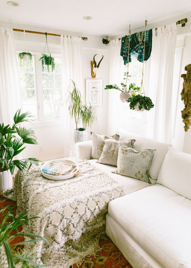 Boho Bedroom With Plants And Textiles Bohemian Bedroom