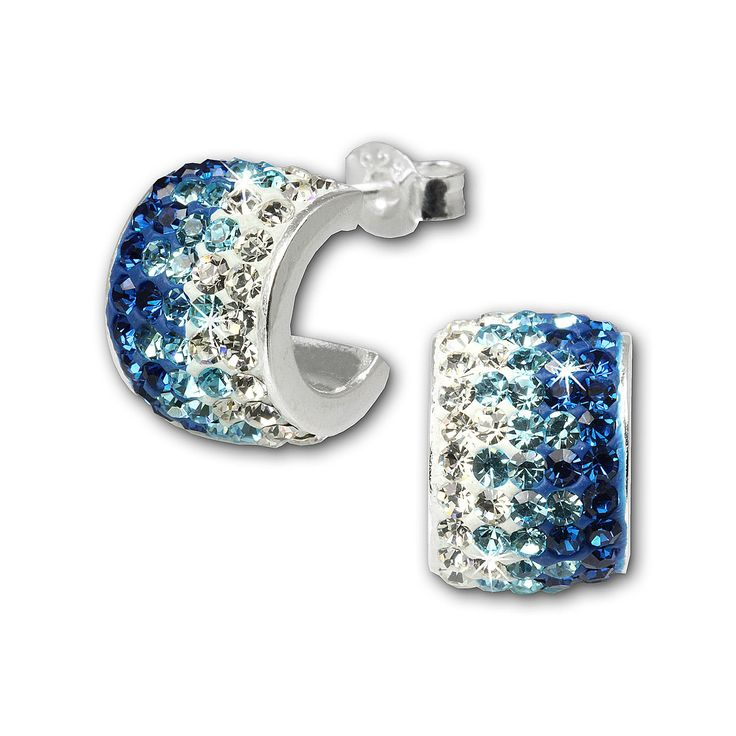 Cercei SilberDream argint creole cu zirconii albe bleu intens