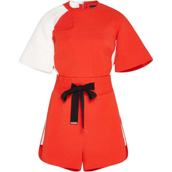 David Koma Keyhole Cutout Contrast Playsuit ($1,580) ❤ liked on Polyvore featuring jumpsuits, rompers, red, playsuit romper, red rompers, david koma, red romper and drawstring romper