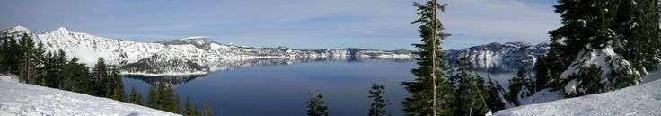 Panoramic Picture of Crater Lake in Winter [6150x1080]
