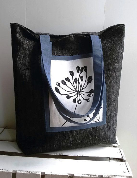 Large Botanic Pattern Tote Floral Tote Bag Vegan Gray by IrisBags
