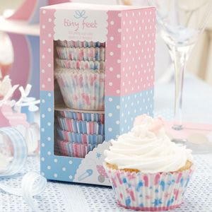 Box of 100 cupcake cases.  Comes in two designs.  Home made cakes, baked with love will go down a treat at the baby shower and will look lovely on the matching tableware.  £3.99 from the Fuschia Boutique at www.fuschiadesigns.co.uk.
