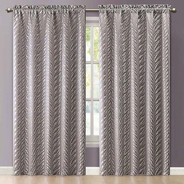 Vcny Kenya Jacquard Window Curtain ($40) ❤ liked on Polyvore featuring home, home decor, window treatments, curtains, grey, patterned curtains, gray home decor, polyester curtains, jacquard curtains and grey panels