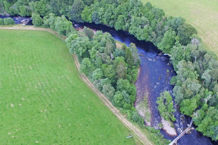 Aerial view of Stones Pool looking upstream from above Dalreoch Bridge