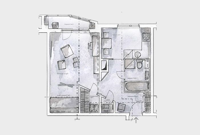 Empty to the brim. Apartment. Floor plan.