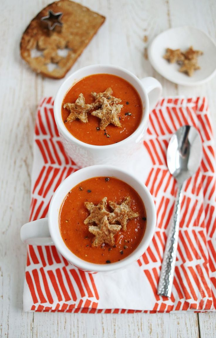Roasted red pepper and tomato soup. YUM!