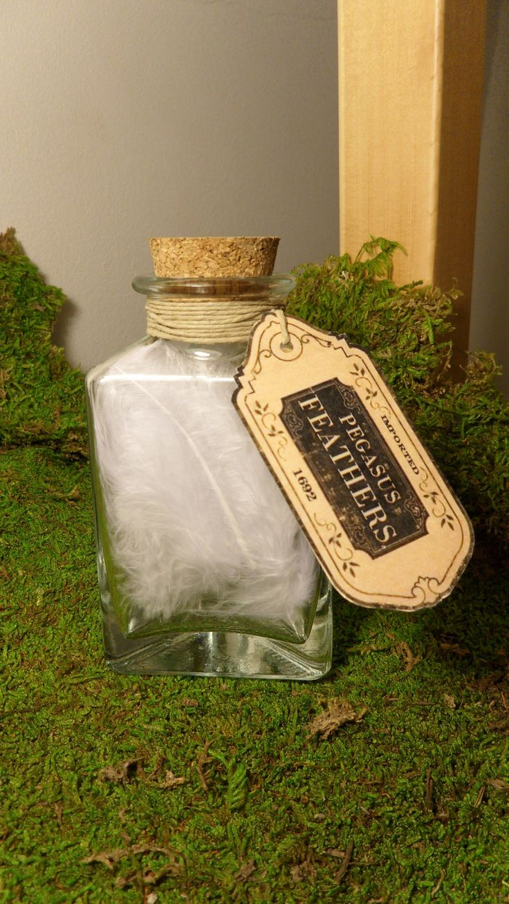 Personalized Glass Potion Bottles w/Cork- Wedding & Party Favors/ Placecards - Pegasus Feathers, Angel Feathers - Triangle Bottle
