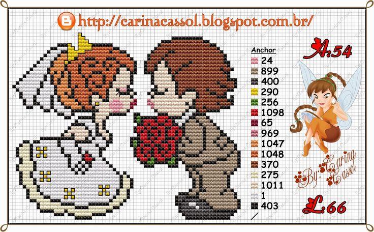 Wedding couple perler bead pattern by Carina Cassol -