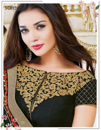 Black Pure Georgette Saree with Lace Work - 12