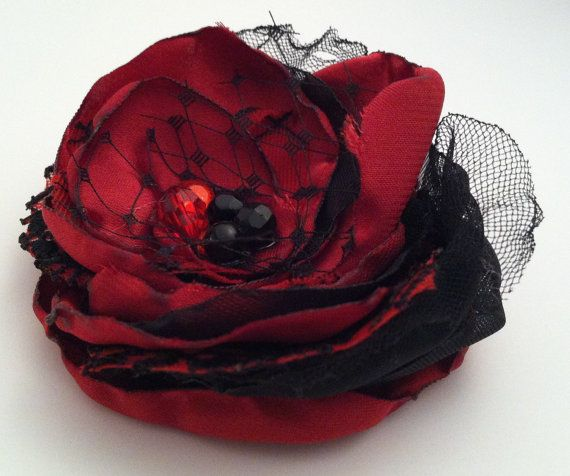 Red and Black Fabric Flower Hair Clip with Bridal Veil, Red Hair Accessories, Women's Hair Clip, Red Headband, Black Headband, Vintage Style