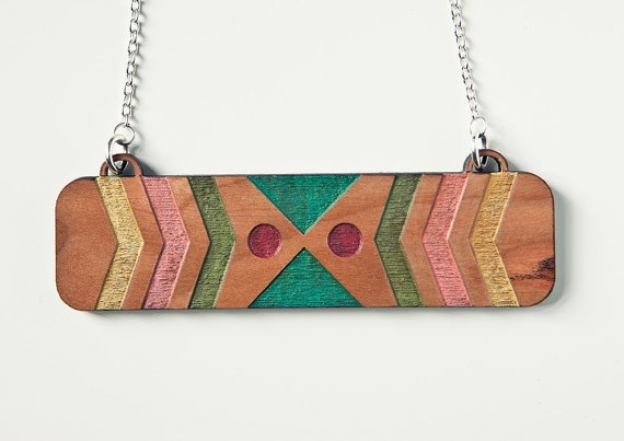 Chevron Navajo Pattern Inspired Necklace laser cut and hand painted from Finest Imaginary (Kim Lawler) #Jewelry #Etsy
