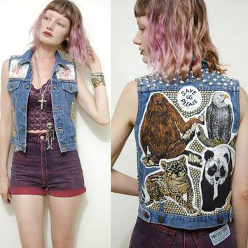 patched denim vest - Google Search