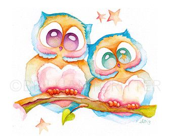 Owl Nursery Art Owl Watercolor Print Owl by BrilliantCritter