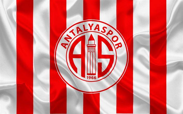 壁紙をダウンロードする Antalyaspor, サッカー, トルコサッカークラブ, Antalyasporエンブレム, ロゴ, 赤白絹の旗を, アンタルヤ, トルコ, トルコサッカー選手権大会