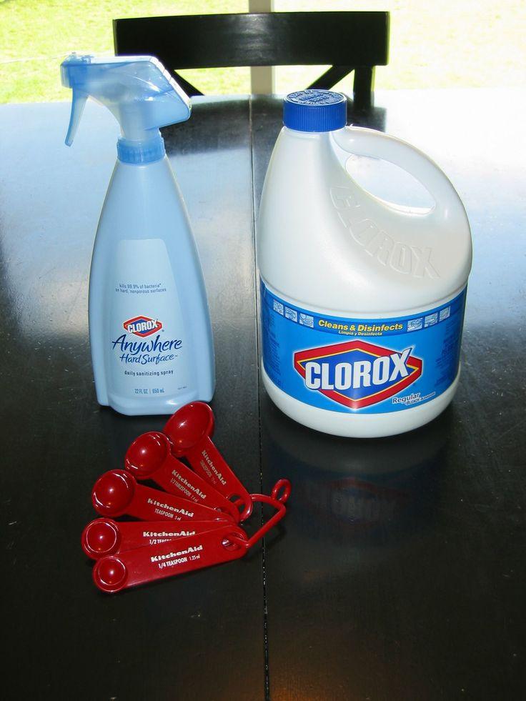 DIY Clorox Anywhere Spray 1 1/2 tsp. Bleach, 22 oz Water