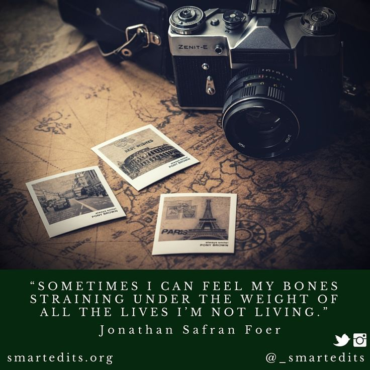"""""""Sometimes I can feel my bones straining under the weight of all the lives I'm not living."""" - Jonathan Safran Foer  #QOTD #LiteraryQuotes #365Quotes #DailyQuotes #Literature #Reading #Books #WordsofWisdom #WiseWords #BookLove #Book #Novel #Authors #Inspiration #DailyInspiration #BookNerd #Bookworm"""