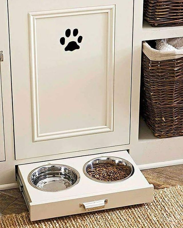 A sliding drawer fitted with pet food and water bowls allows you to hide them away when you have guests, but also lets you control feeding. This can be a huge help if you have your pets on a strict diet. * ** *** #laundryideas #petlovers #realtortips #realtor #realtorlife #brokerlife #broker #gratitude #lovelife #teresafreeman #floridarealtyfusion #realestate #coollaundry #laundrydesign #builtins #cabinet #floridarealtyfusion #paws #pawsmatter #localrealtors - posted by Teresa Freeman…