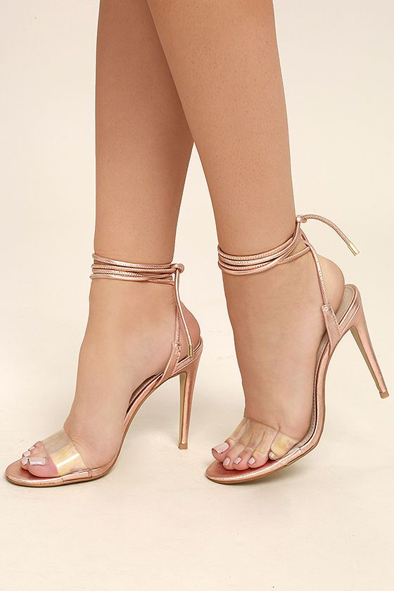 Steve Madden Lyla Rose Gold Leather Lucite Lace Up Heels