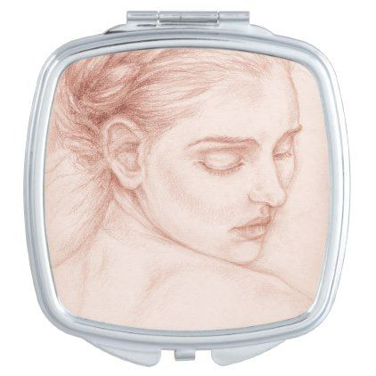 Victorian Lady Portrait Drawing Makeup Mirror - drawing sketch design graphic draw personalize