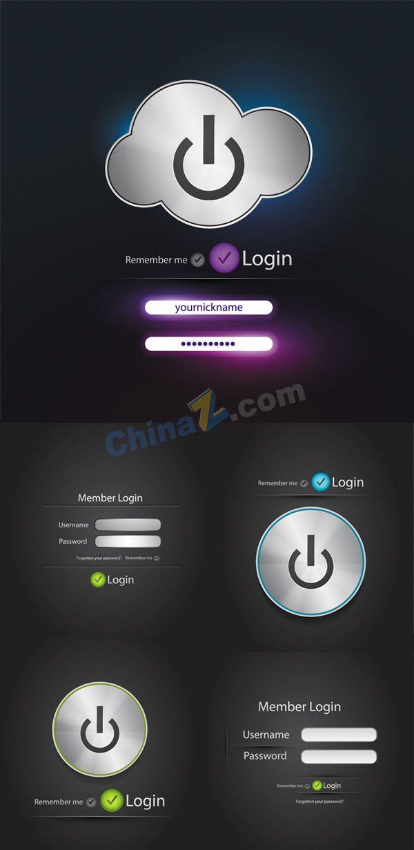 Web buttons login box vector material