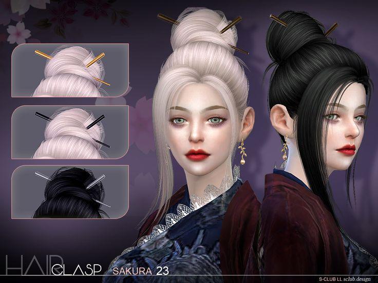"sclub-privee: ""sclub_ts4_hair_n23_Sakura & Hair clasp ~ hope you like the Asian style..."