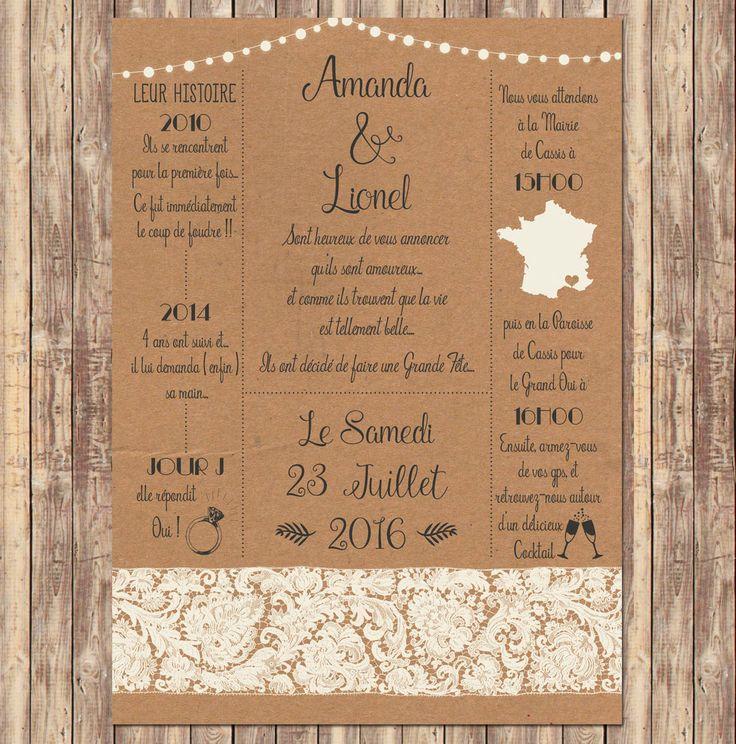 invitation mariage vintage kraft dentelle et guirlandes