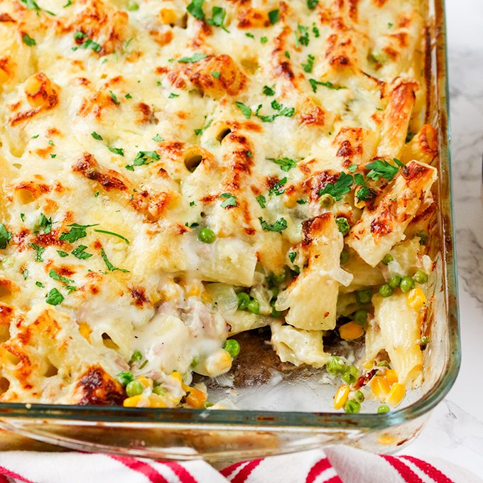 Creamy Tuna Pasta Bake - a classic meal that everyone loves - made with mostly store-cupboard ingredients!