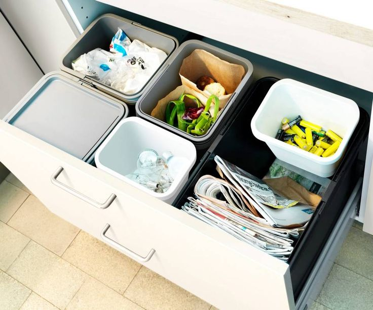 SKUFFESYSTEM: beholdere i kjøkkenskuffen er en praktisk og velkjent metode.