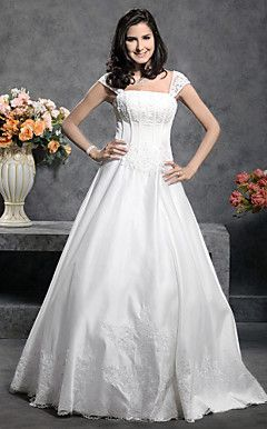 Princess Floor-length Satin Wedding Dress With Beaded Appliq... – USD $ 176.39
