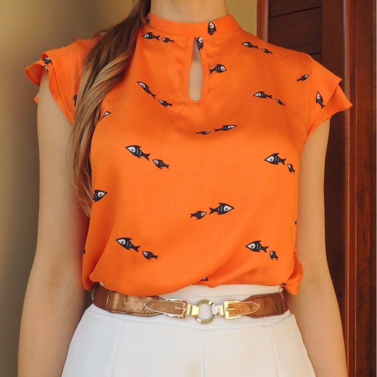blusa-feminina-gola-alta-mangas-curtas-soltinha-moda-2016-laranja-estampada-comprar-980x980.jpg (980×980)
