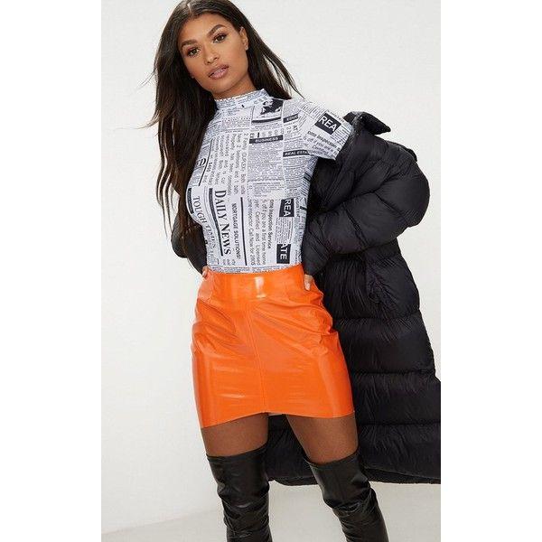 Orange Vinyl High Waisted Zip Up Mini Skirt ($27) ❤ liked on Polyvore featuring skirts, mini skirts, orange, zip up skirt, high waisted mini skirt, short skirts, high waisted skirt and high rise skirts